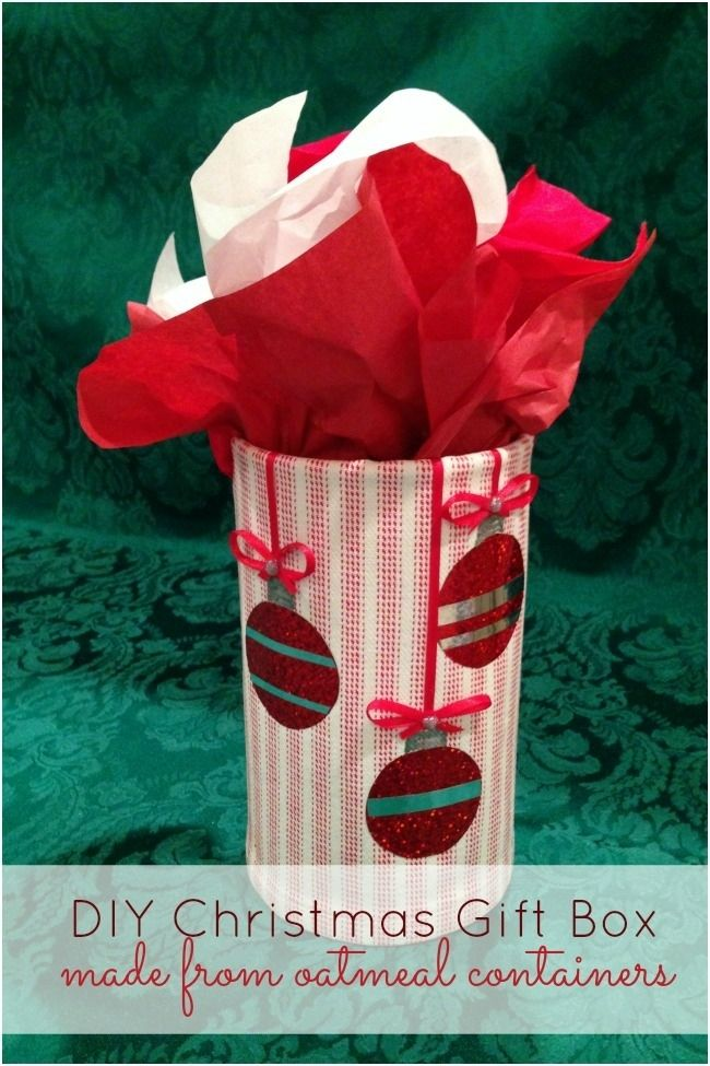 DIY Christmas Gift Box made from an oatmeal container! www.spaceshipsandlaserbeams.com #tulipholidaysparkle
