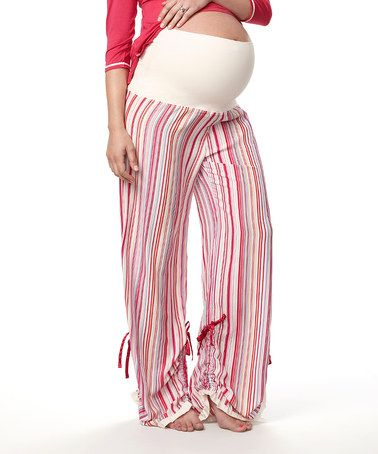 Take a look at this Raspberry & Champagne Flawless Maternity Pajama Pants by HOTmilk on #zulily today!