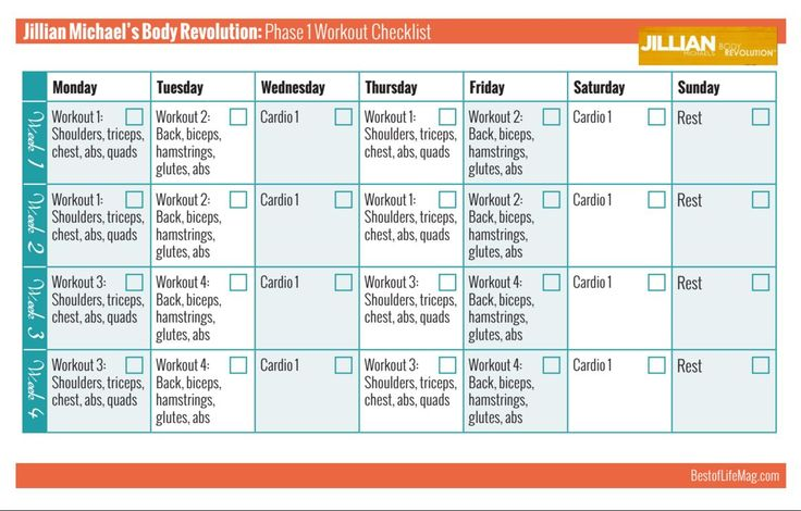 Jillian Michaels Body Revolution Printable Workout Checklist - Phase 1 - The Best of Life® Magazine