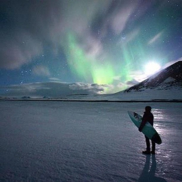 That is a interesting idea! Surf while watching the northern lights dance in heaven! If you want to learn more about the aurora borealis in Iceland check out: http://www.northernlightsiceland.com/