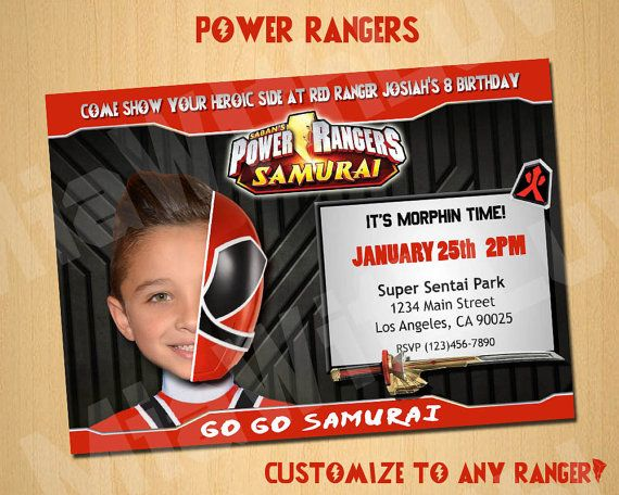 Power Rangers Samurai Birthday Invitation Invite Custom By