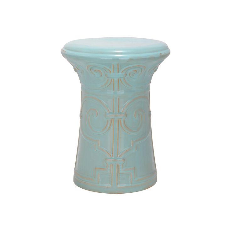 Outdoor Safavieh Imperial Scroll Ceramic Garden Stool, Blue