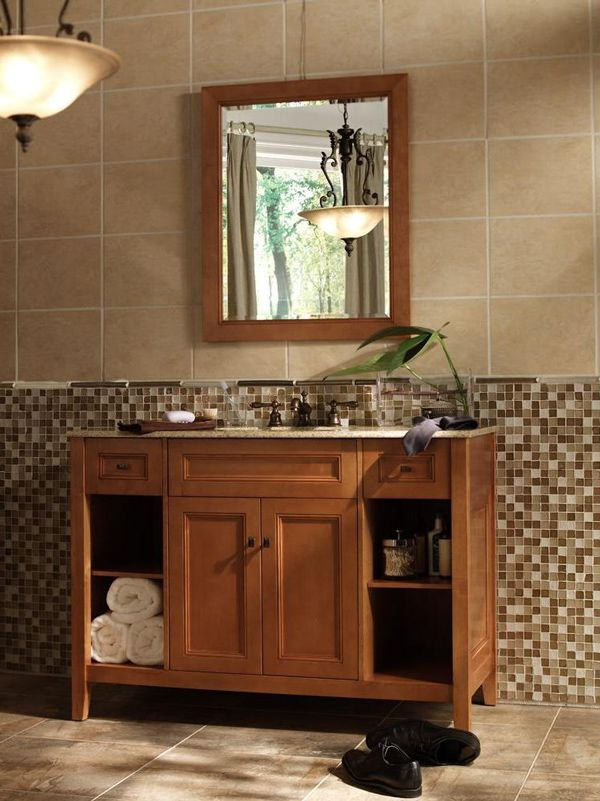 D Bath Vanity In Rich Cinnamon With Granite Vanity Top In Golden Hill