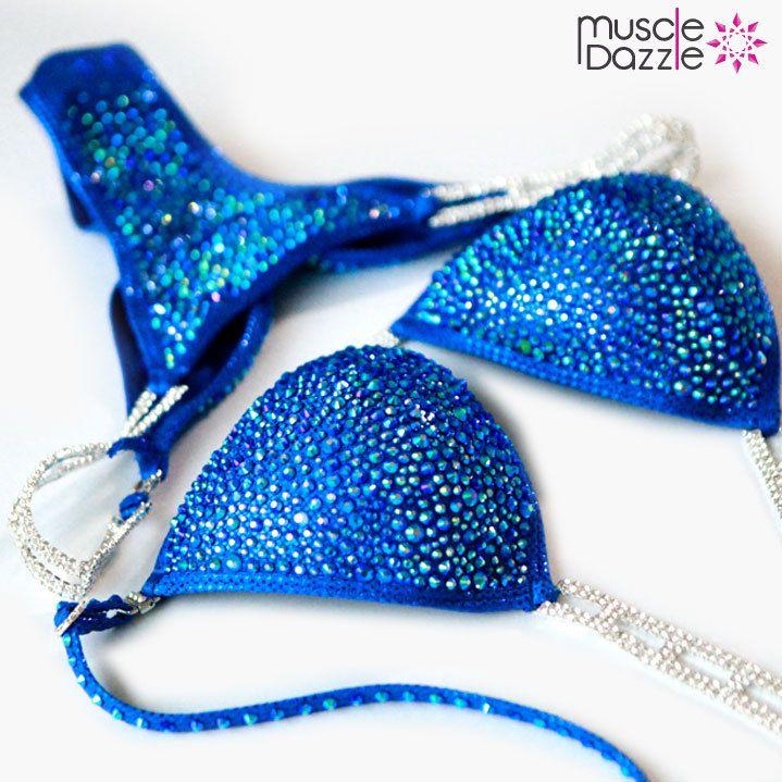 Muscle Dazzle - Royal Blue Crystal Bikini (CB087), $295…