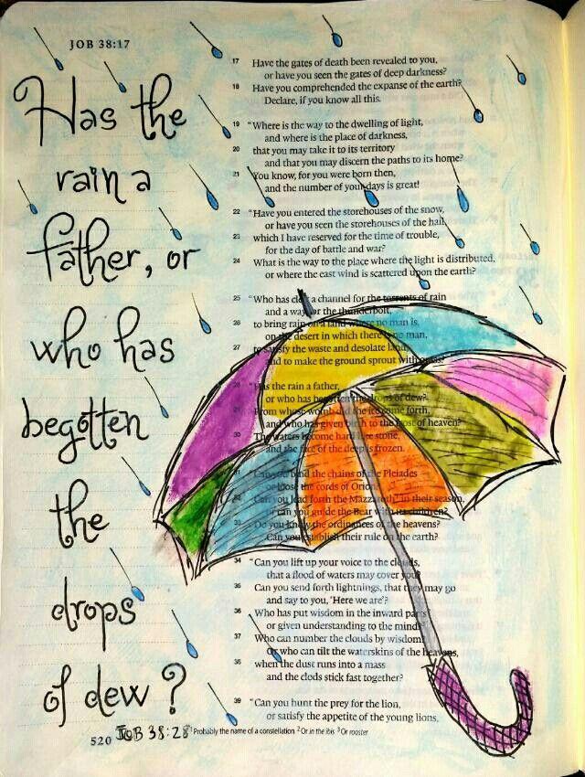 Job 38:28 Bible art . Heeft de regen een vader ? Of wie heeft de dauwdruppels verwekt ?