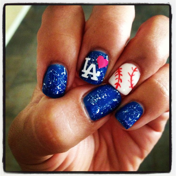 Dodger nails!!! Gel nails I wanna do these for the next game I go to ;)