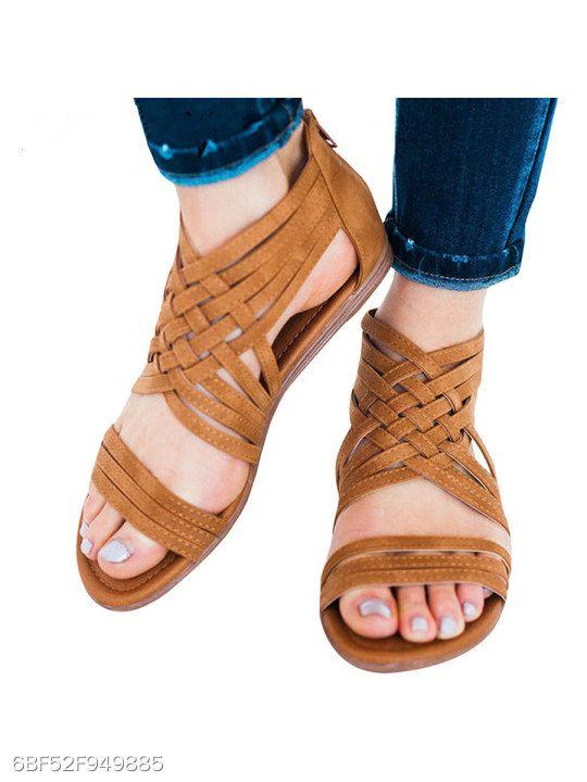 4bf4d9182 Plain Flat Peep Toe Casual Date Flat Sandals