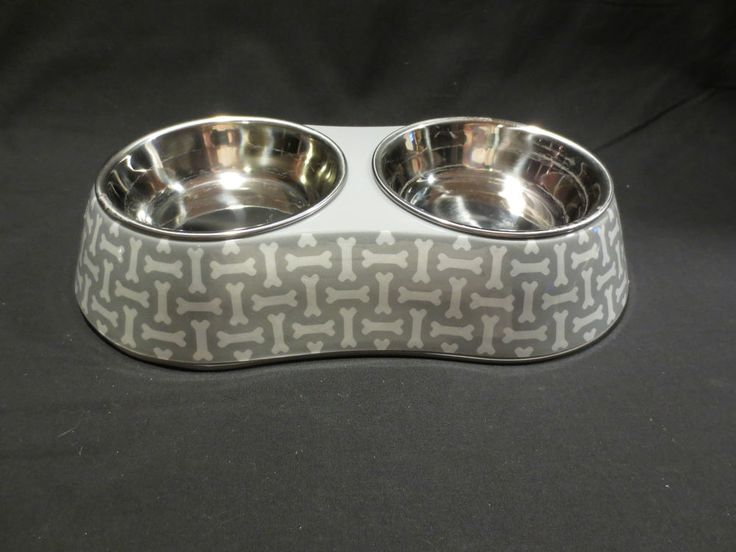 Martha Stewart Pets Double Bowl Feeder Dog Cat Gray White Food Water Dishes |
