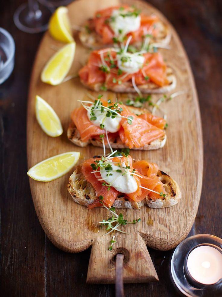 Smoked salmon, horseradish and cress toasts via Jamie Oliver