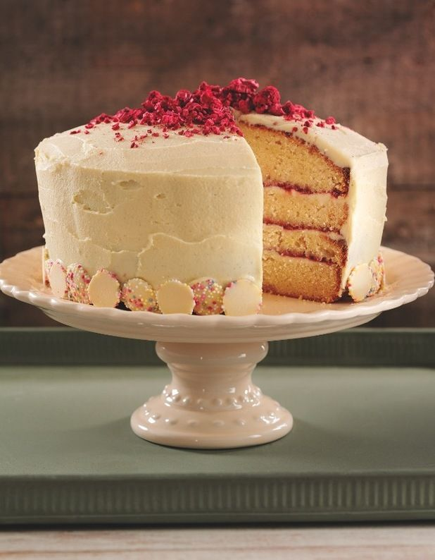 Nielsen massey vanilla raspberry white chocolate for Decoration layer cake