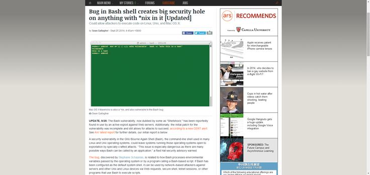 Bug in Bash shell creates big security hole on anything with *nix in it [Updated] | Ars Technica
