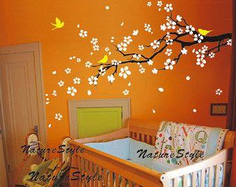 Blumen Wand Aufkleber Vögel Wand Aufkleber Kinderzimmer Wandbild Kinder Wand Kunst Kirsche Blüte Aufkleber Baum-Pflaumenblüte mit fliegenden Vögeln