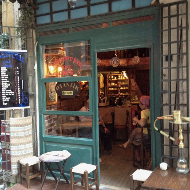 Cozy cafe near Galata tower in Istanbul