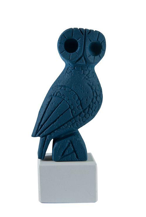 "Owl Myron: ""Wisdom begins in wonder"" - Socrates. Material: Ceramine. Color: Deep Blue."