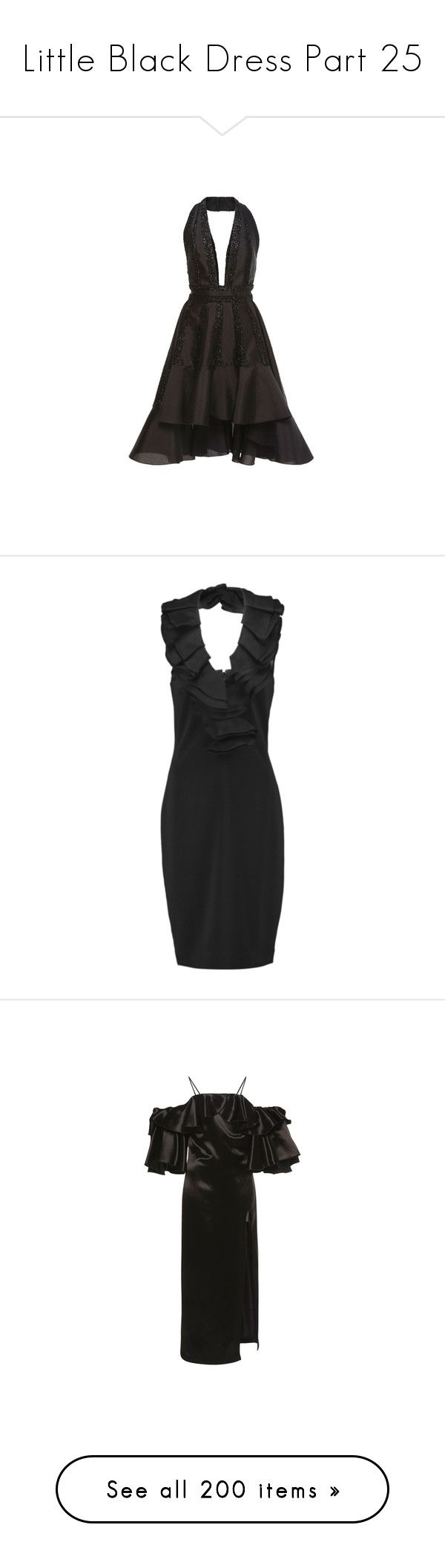 """Little Black Dress Part 25"" by leanne-mcclean ❤ liked on Polyvore featuring dresses, black, red carpet dresses, ruffle front dress, halter-neck dresses, halter dress, flutter-sleeve dress, overlay dress, talbot runhof dresses and sequin embellished dress"