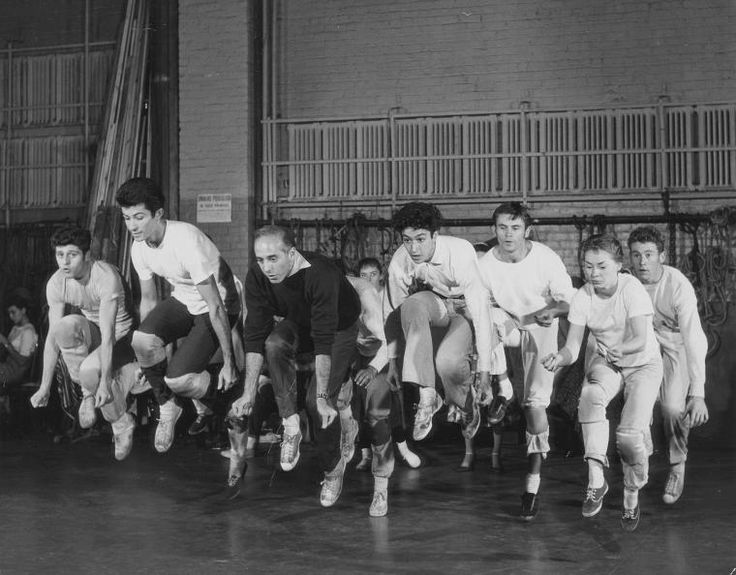 """Jerome Robbins leading the original Broadway cast of West Side Story in """"Cool"""""""