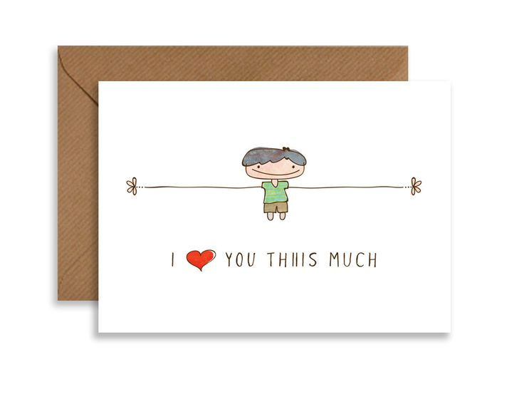 """Valentines greeting card, I love you Thiiis Much, cute gift for her, 5""""x7""""printable card, boy hand drawn, greeting card, instant download by ThiiisMuch on Etsy"""