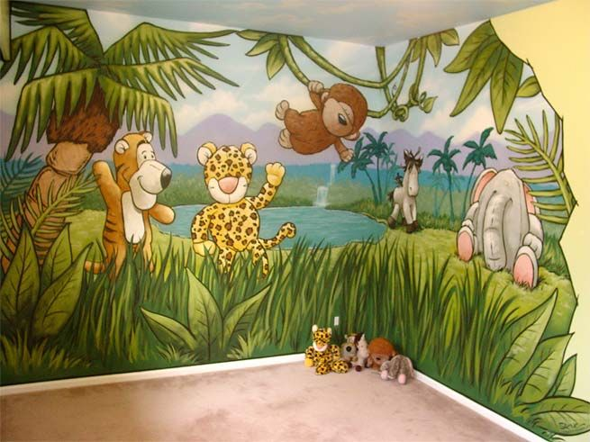 Kids jungle mural | her daughter's favorite stuffed ...