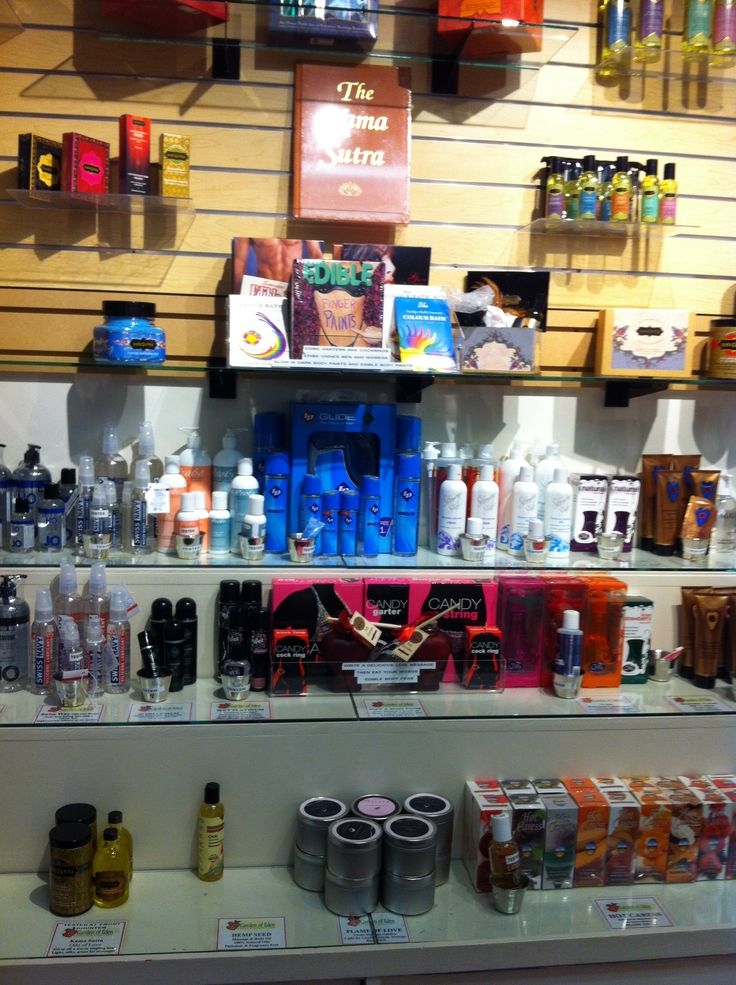 Our lubricants and massage oils inside our store