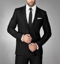 Ternos sob medida para o casamento do noivo ternos de lã para padrinhos smoking preto para 2015 do casamento do noivo usam ternos de duas peças(China (Mainland))
