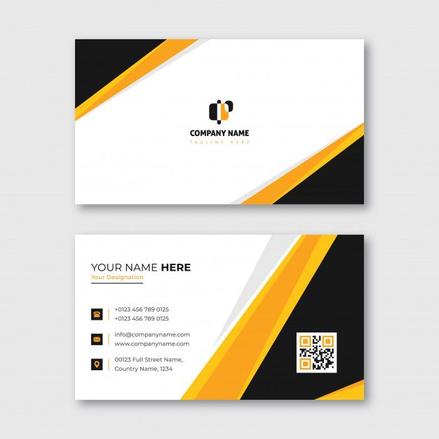 Orange And Yellow Business Card For Commercial And Personal Use Yellow Business Card Vector Business Card Business Card Template Design