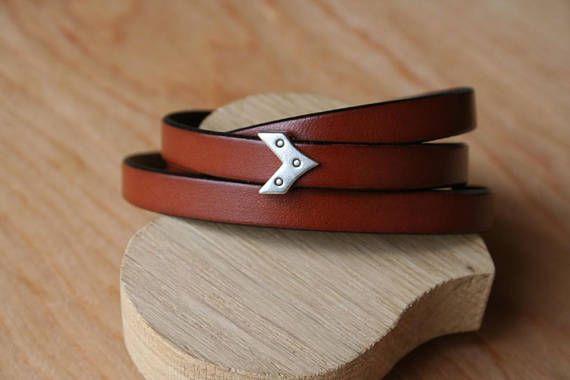 Bracelet cuir plat 10mm  3 tours  Un passant au choix