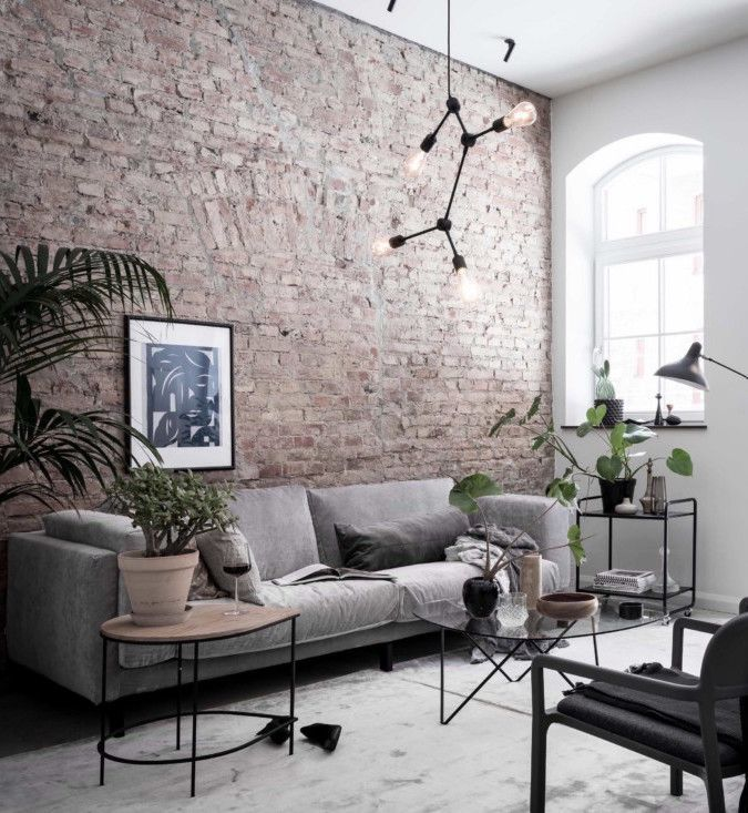 Exclusive Home With An Exposed Brick Wall Brick Living Room