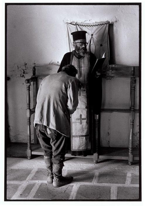 """Greece. Karpathos. Olympos. 1964. Easter confession. """"A Greek Portfolio"""" p.32 © Costa Manos/Magnum Photos"""