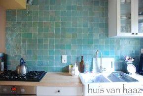 Mooie kleur zelliges tegels. Leuk voor de keuken en de badkamer.