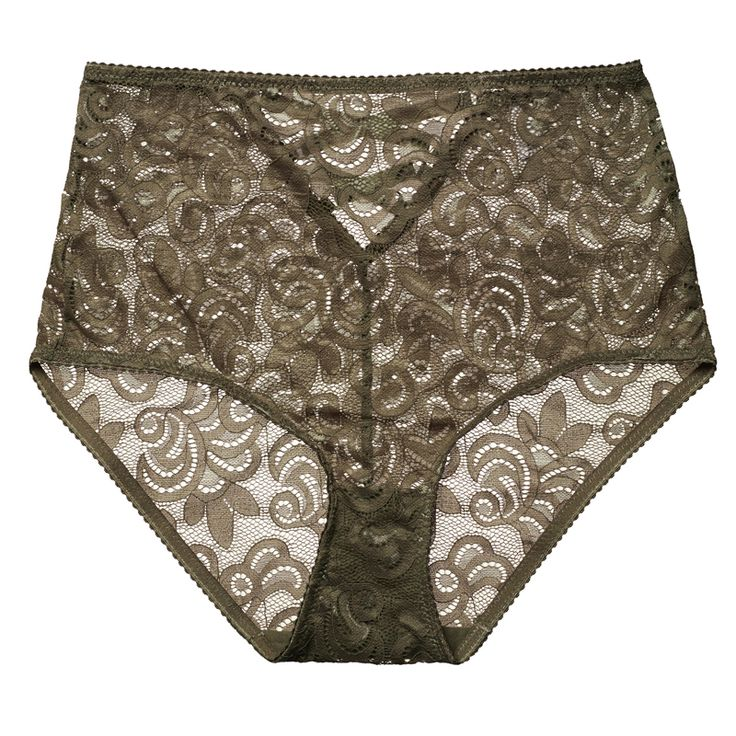 High waist full brief in a beautiful corded lace, crossed over velvet elastic detailing through the lower back, shark tooth elastic through the leg opening.