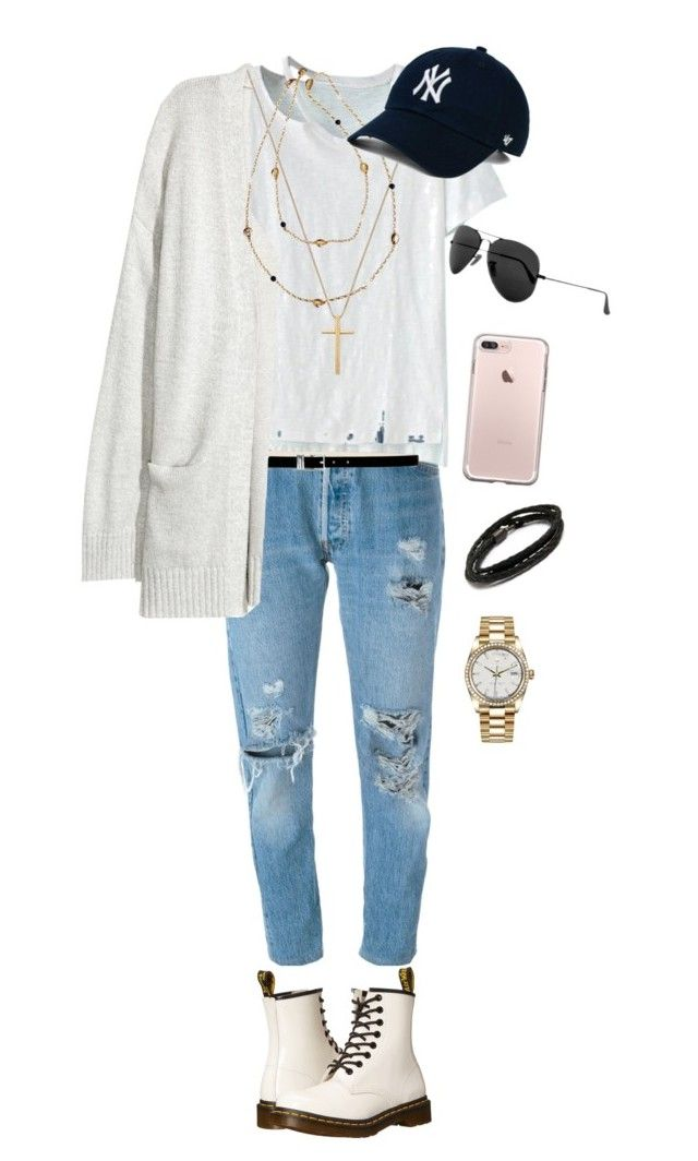 """Bill Kaulitz style"" by andrea-levander on Polyvore featuring RE/DONE, WithChic, Nine West, Dr. Martens, Ray-Ban, MIANSAI, Rolex, Gucci, Tory Burch and men's fashion"