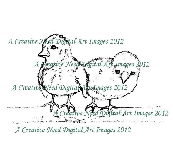INSTANT DOWNLOAD Digital Stamp Image CHICKS for by ACreativeNeed, $2.75