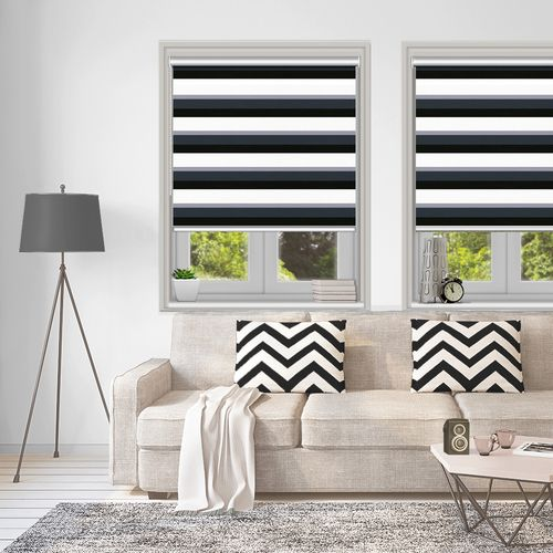 Modern horizontal stripes in various tone of grey from cloud to charcoal and complimented by the neutral off white colour make this roller blind perfect for monochrome themes.