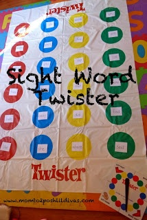 "Word Recognition Pin 1: This activity is a ""twist"" on the game Twister. This is Sight Word Twister where the students play a game of Twister where each circle contains a sight word. One student spins the spinner and the others touch the sight word that the spinner landed on after the word is spoken."