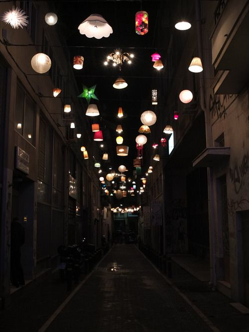 ishida: artspotting: beforelight, communal lighting installation from donated fixtures view from ermou street image © beforelight via designboom