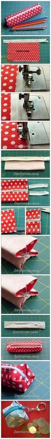 DIY pencil bag or cube coin bag with zipper! very cute! :D