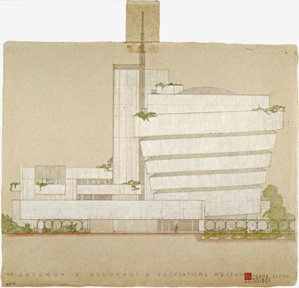 Original sketch by Frank Lloyd Wright for the Solomon R. Guggenheim Museum (1943)