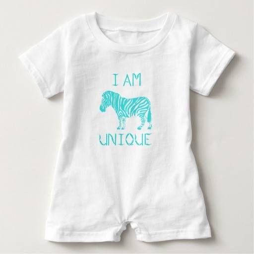(I AM UNIQUE Design by Kat Worth Baby Romper) #Aqua #Boy #Girl #IAmUnique #Romper #Zebra is available on Funny T-shirts Clothing Store   http://ift.tt/2d7Khi3