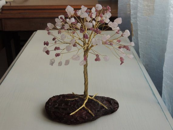 Rose Quartz and pink Tourmaline Tree of Life, Pink Crystal Heart Chakra, Unique wedding cake topper, Large gemstone tree, wire cake topper