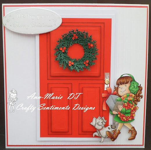 An 8 x 8 Christmas door card using Crafty Sentiments Designs 'delivery our presents'