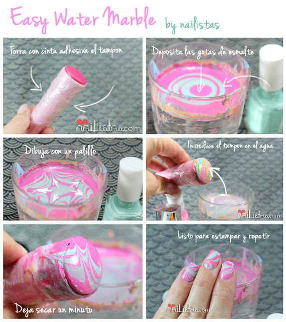 This less messy water marbling technique involves stamping with a tampon (yes, a tampon). | 32 Easy Nail Art Hacks For The Perfect Manicure