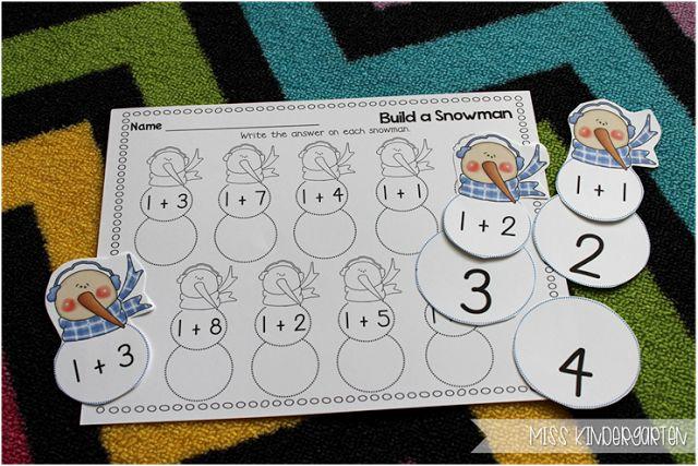 """Build A Snowman"" Addition Plus 1 Problems (from Miss Kindergarten)"
