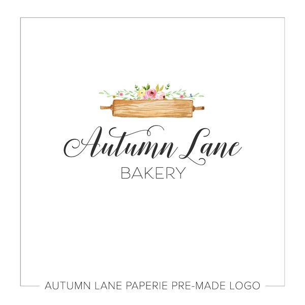 This listing is for a customizable pre-made Rustic Rolling Pin Floral Logo I87. Put your company's name on it today!