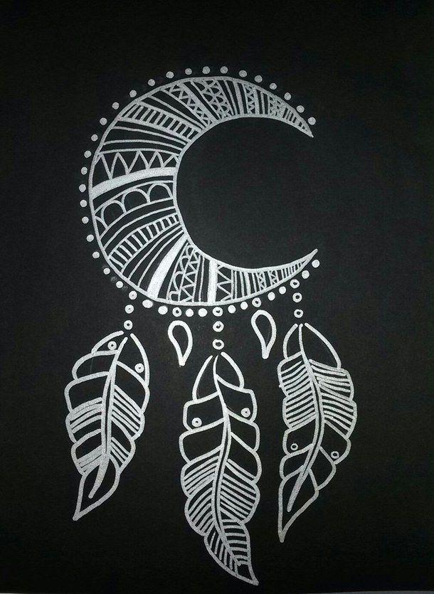 искусство, чёрный, нарисованное, ловец снов, перья, луна, серебро
