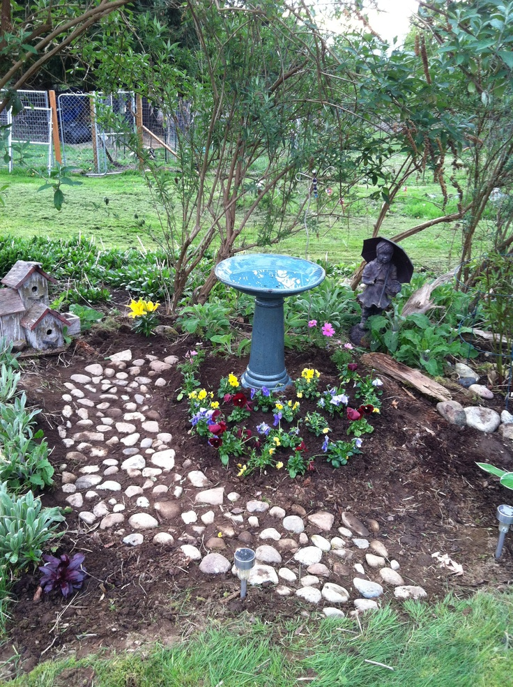 My Project Today Found A Spot For Bird Bath And Planted Some Plants Did