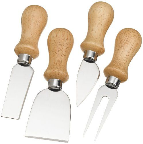 Prodyne K-4-W Cheese Knives with Polished Wood Handles Set of 4