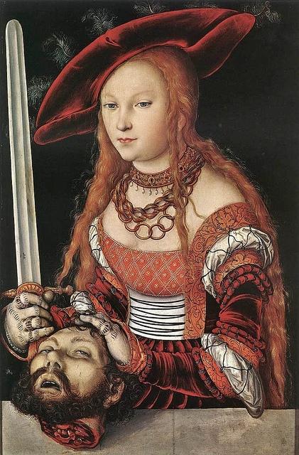 1530s Lucas Cranach the Elder (1472-1553) Judith with the Head of Holofernes    bjws.blogspot.com/2011/08/judith-holofernes-1500s.html