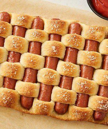 Creative Hot Dog Recipe Ideas for Kids   Pretzel Woven Hot Dogs