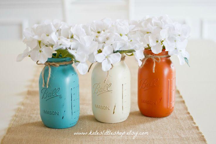 Set of 3 Quart size Painted Ball Mason Jars. Teal/Cream/Burnt Orange. Wedding Decor. Centerpiece. Baby Shower. Wedding shower. Bouquet Holde by KatesLittleShop on Etsy https://www.etsy.com/listing/195192101/set-of-3-quart-size-painted-ball-mason