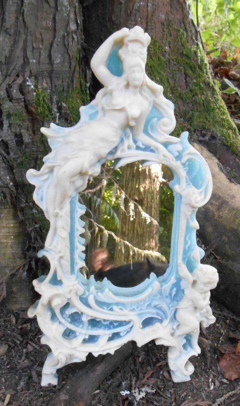 Vintage Incolay Stone Mirror Venus Dess Of Love Woman And Cherub Angel In Blue Ivory Color With Stand Bedroom Bathroom Decor Baroque Pinterest